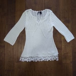 New Directions size small white sweater crochet